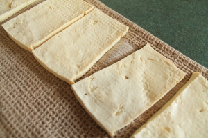 Pressed tofu ready for making a sandwich!